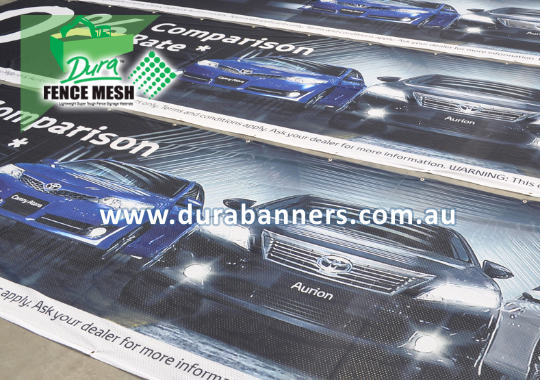 Fence Wrap advertising as used by car dealer yards this banner sign mesh wrap prints exceptionally well with images of new car models and releases