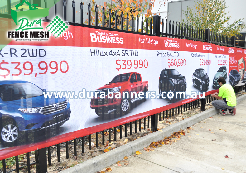 This is the printed outdoor fence mesh advertising banner made from the design