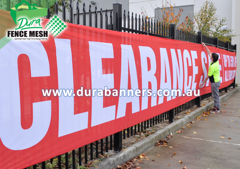 Clearance Sale (New York Example) Banner Sign on the yard fence