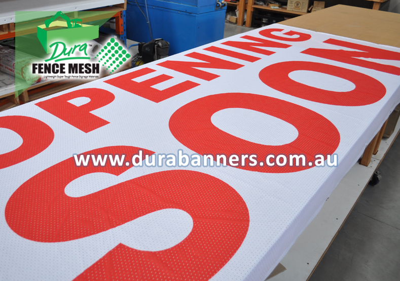 Red and White Opening Soon Mesh Banner Sign